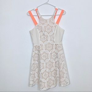 Jealous Tomato Ivory Lace Dress W/ Coral Straps S